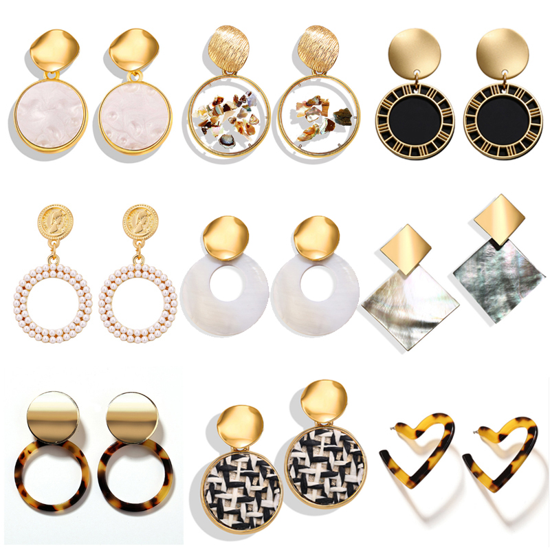 17KM 29 New Korean Earrings 2019 For Women Lover Round Heart Drop Dangle Fashion Earring Gold Big Geometric Jewelry Wholesale(China)