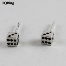 Good Quliaty Jewelry Retro 925 Sterling Silver Dice Stud Earrings Jewelry Pendientes Brincos Fashion Jewelry