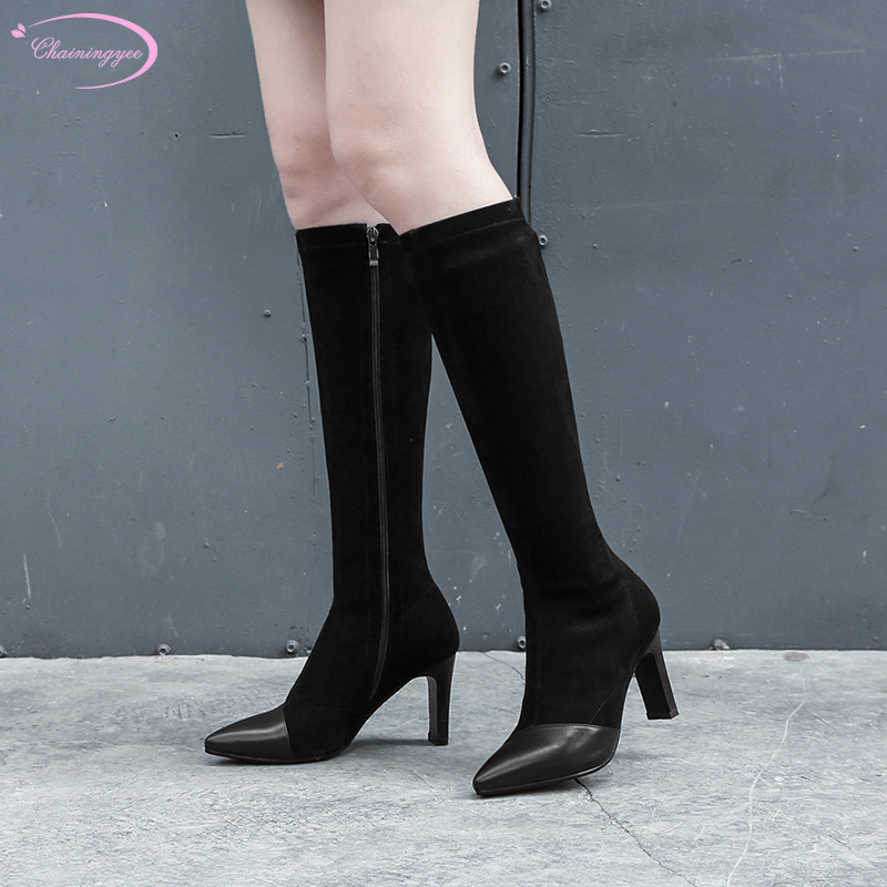 Chinese casual style leather suede sexy pointed toe knee boots stretch zipper black high heel thin womens riding bootsChinese casual style leather suede sexy pointed toe knee boots stretch zipper black high heel thin womens riding boots