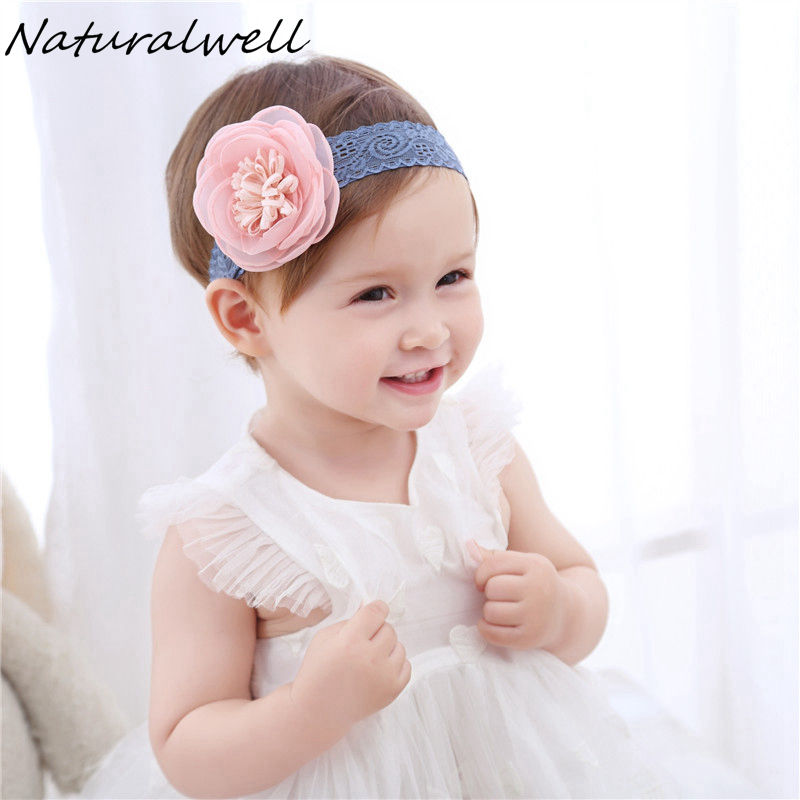 Naturalwell Little girls flower headband Newborn hair flower on lace band Children girl hair bows Kids lace hair band HB067 headband baby girl hair bows newborn elastic hair band kids cute children hair accessories ribbon head band with dot 2pcs set