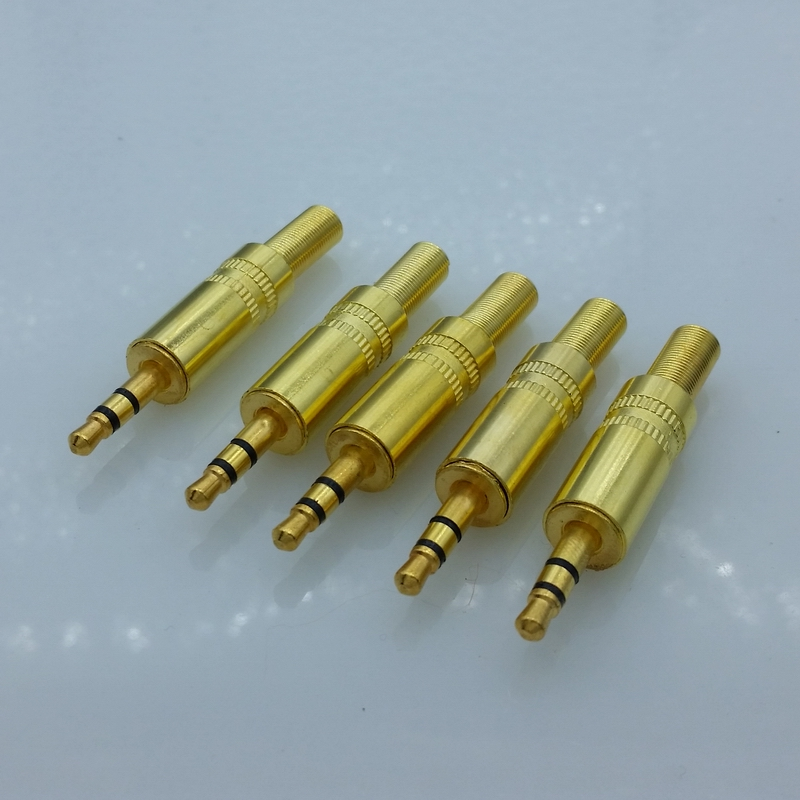 5pcs/lot 3 Pins 3.5mm Audio Gold-Plated Headphone Plug 3.5 RCA Connectors Jack Connector Plug Jack Stereo Headset Dual Track