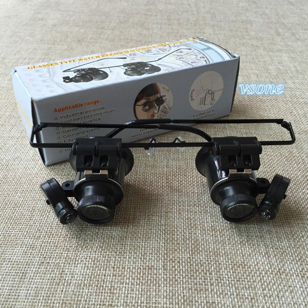 20X Watch Repair Óculos Estilo Lupa Binocular Dental Lupas Com Luzes LED  Óculos Lupa 9c45b79191