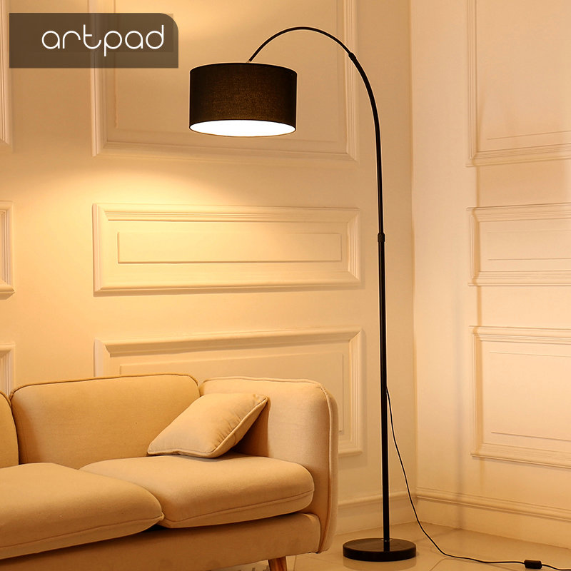 Artpad Adjustable Modern Floor Stand Lamp Light Fabric Lampshade Adjustable Height LED Floor Lamps for Living Room Bedroom Study bedroom floor lights crystal floor lamps wedding decoration sitting room lighting modern floor lamps for living room lamp modern