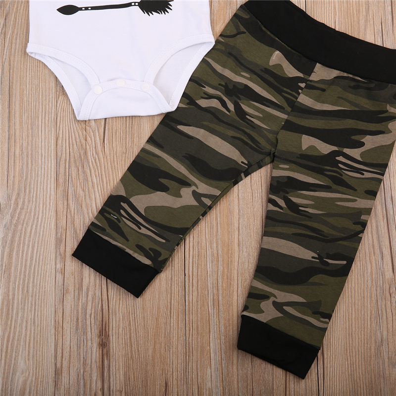 Baby Boy Hot Sale Cotton Clothes Set 3pcs Fall Newborn Baby Boy Bodysuit+Camouflage Pants+Cap 2017 New Arrival Fashion Outfits