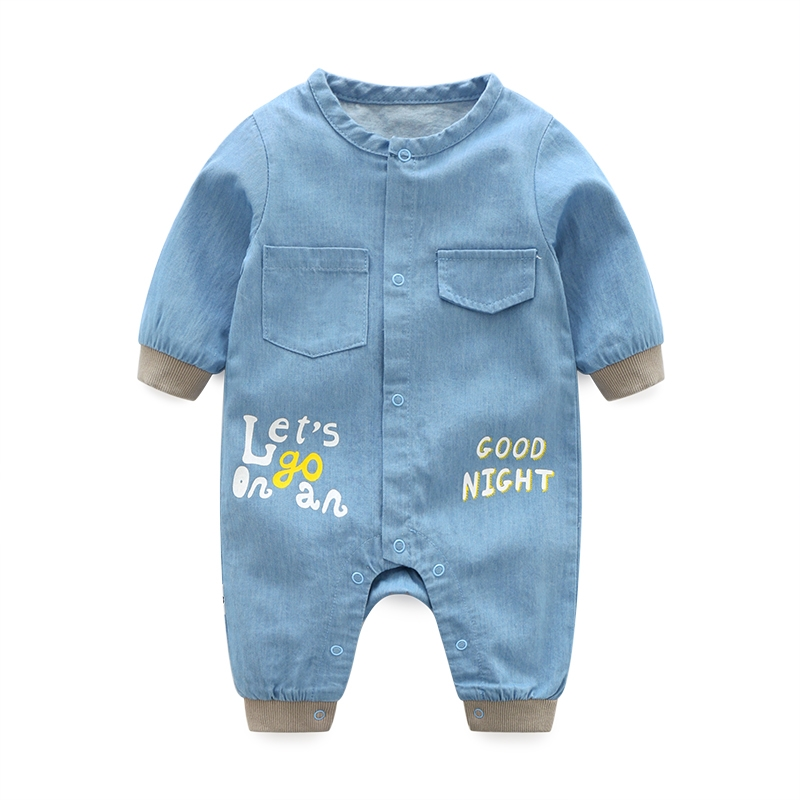 0-12M Newborn Baby boy Girl letter Romper long Sleeve Denim Clothes Cute Bebes spring autumn Outfit Sunsuit Jumpsut 2018 casual
