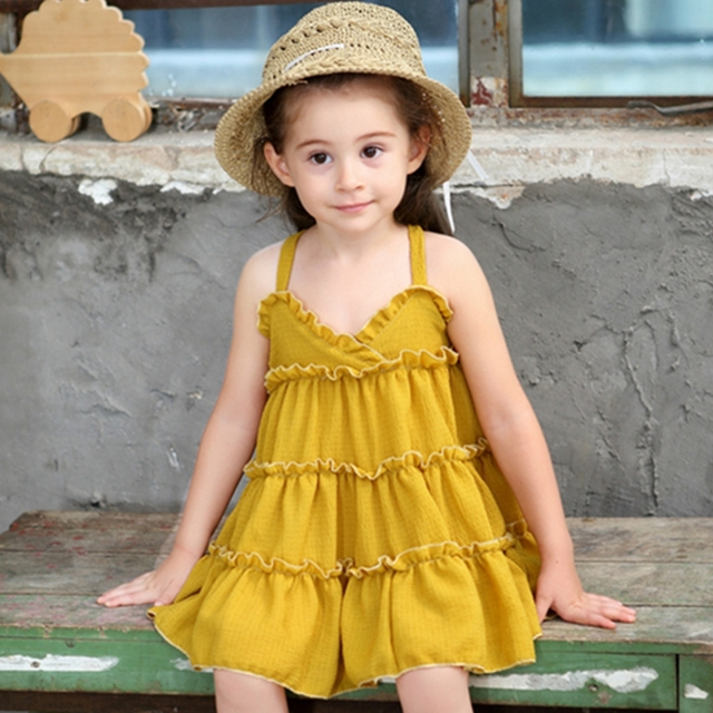 c48bfe6f8 2018 New Summer Girls Dress Yellow color Princess Dress Baby Girls Dress  Suspender Sleeveless Dress for girls Party Clothes