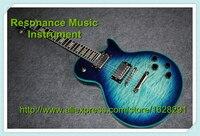 Yeni varış en kaliteli abanoz klavye lp özel guitars elektrikli vintage mavi kapitone finish sol mevcut teslim