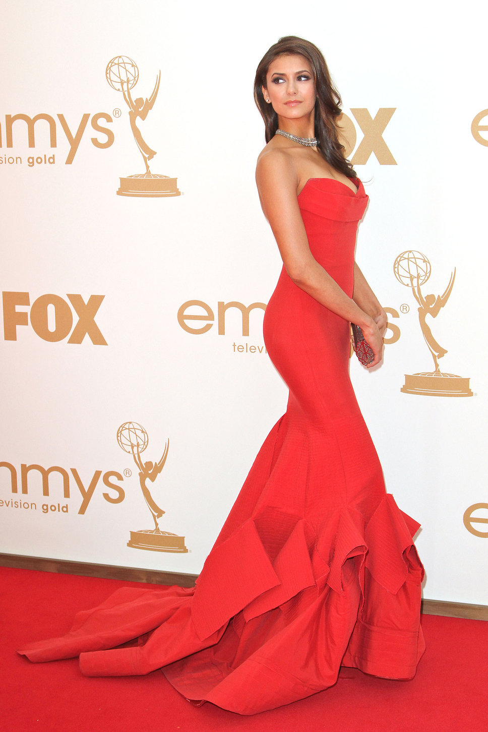 New Arrival Red Carpet Dresses Red Satin Ruched Mermaid