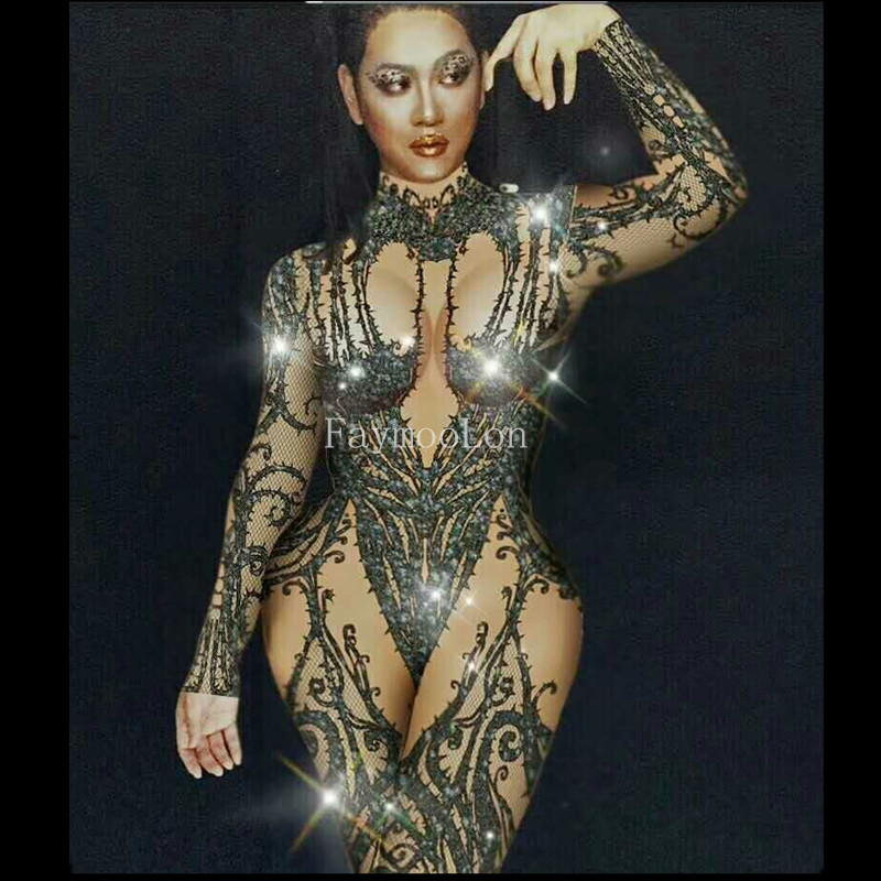 Female Singer Dj Ds Gogo Sexy Black Crystal Jumpsuit Long Sleeve Conjoined Bodysuit Stage Performance Costume