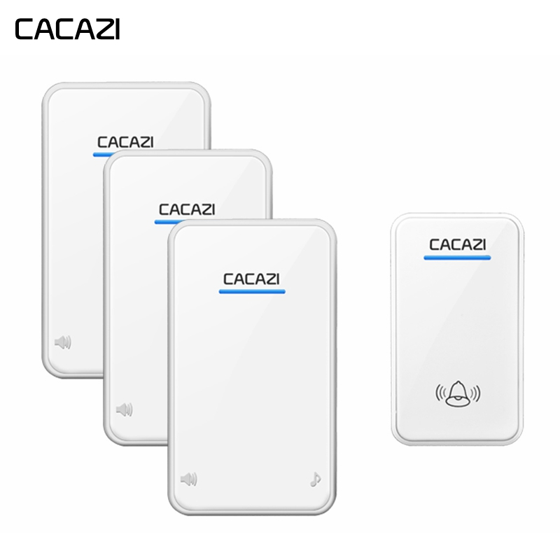 CACAZI Wireless Smart Home Doorbell Waterproof led light 1 Button 3 Receiver EU US Plug Cordless door bell chimes 300M RemoteCACAZI Wireless Smart Home Doorbell Waterproof led light 1 Button 3 Receiver EU US Plug Cordless door bell chimes 300M Remote