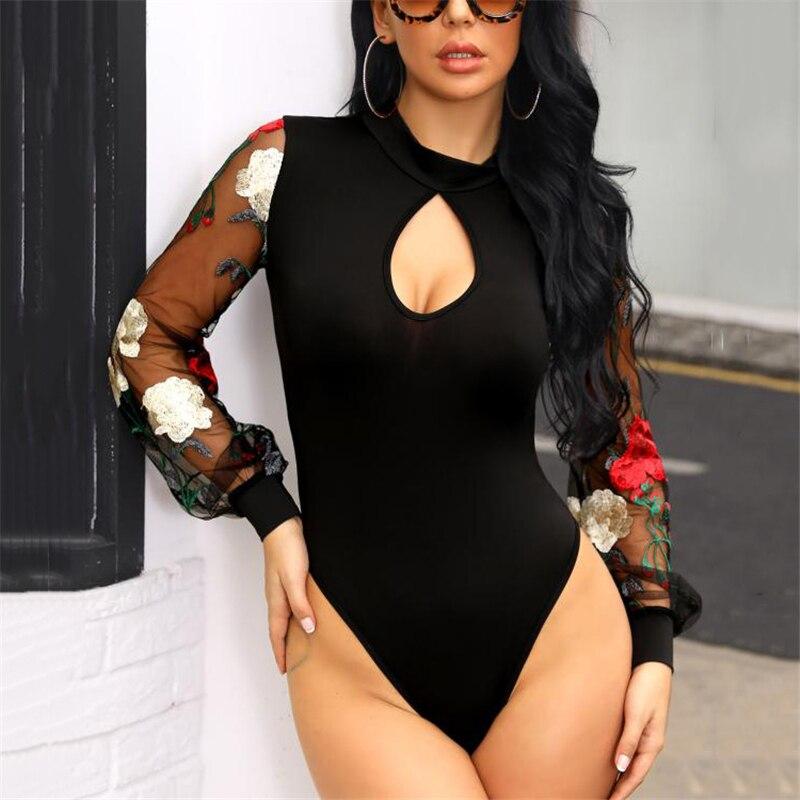 Women See Long Sleeve Floral Bodysuit Elegant Stretch Bandage Leotard Ladies Floral Body Suit Tops Party Club Romper Streetwear