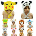 Cute Funny Plush Faux Fur Animal Stuffed Beanie Hood Hat Winter Adult Womens Mens Children Kids Warm Cosplay Costume C3034a
