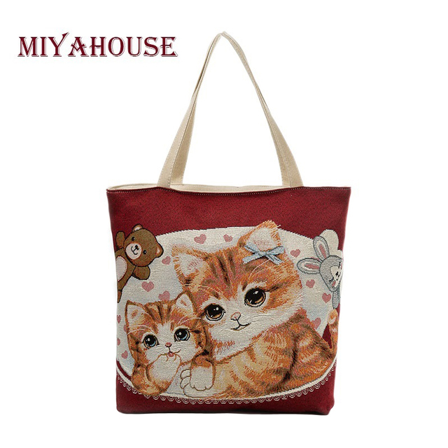 c241da21ac Miyahouse Large Capacity Women Shoulder Bag Canvas Ladies Handbag Lovely  Cats Print Beach Bag Embroidery Shopping Bag Female