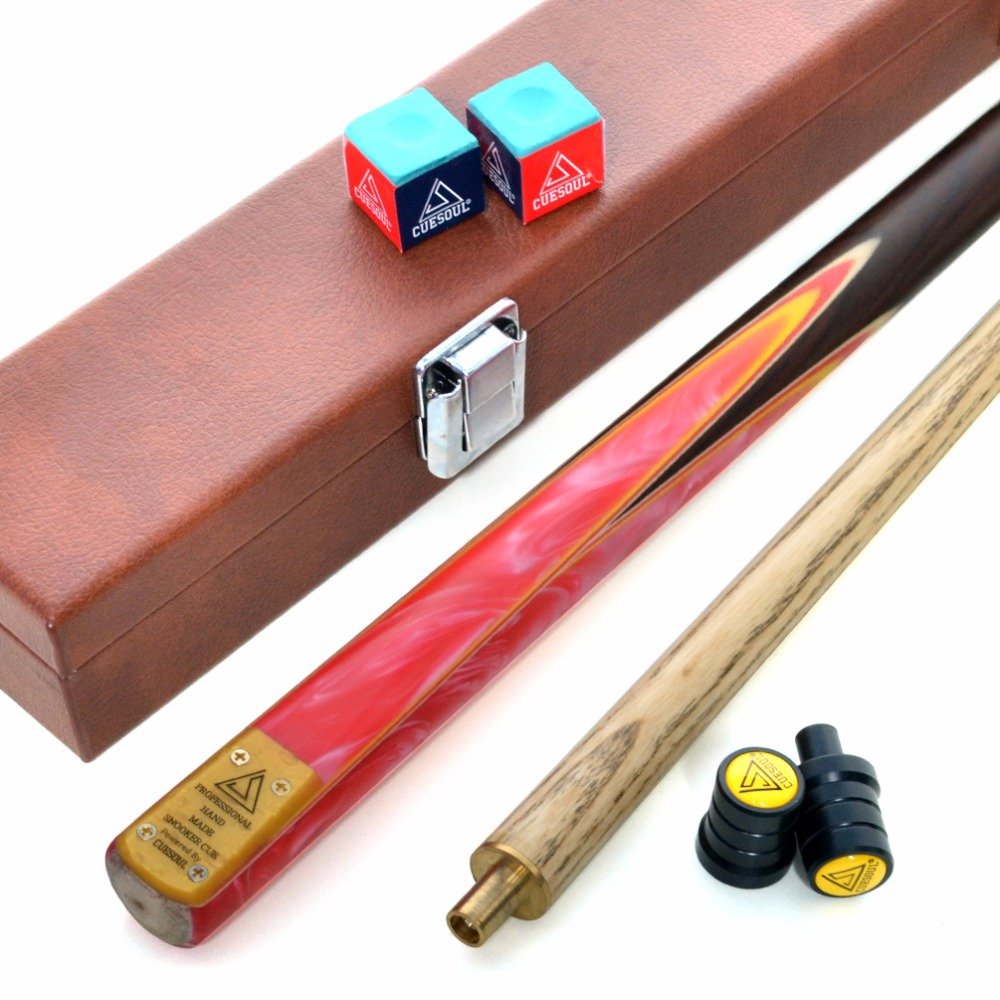 CUESOUL 57 2 Piece Jointed Snooker / Pool Cue Hand-Spliced with Leatherette Cue Case цена