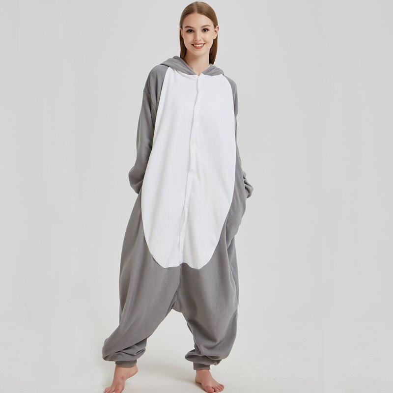 944e1fa34 Comfortable Grey Wolf Kigurumi Pajamas Animal Fleece Adult Onesies ...