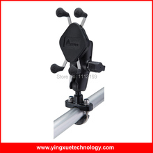 Motorcycle Scooter Handlebar Rail Mount with U Bolt Base and Universal X Grip Cell Phone Holder