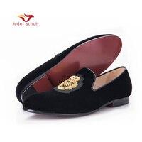 로퍼 남성 인도 황금 실크 직물 패턴 크라운 잎 디자인 벨벳 신발 남성 로퍼 고귀한 기질