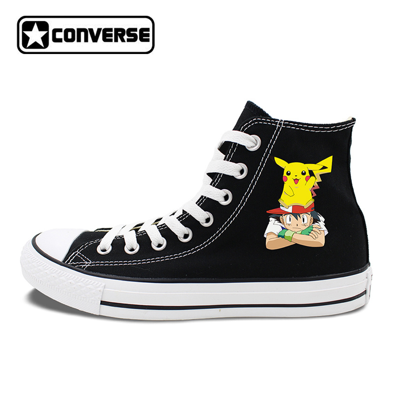 Design Anime Shoes Black White Converse All Star Ash Pikachu Pokemon Sneakers Canvas Skateboarding Shoes for Men Women converse all star high top shoes for men women dreamcatcher design flats lace up canvas sneakers for gifts