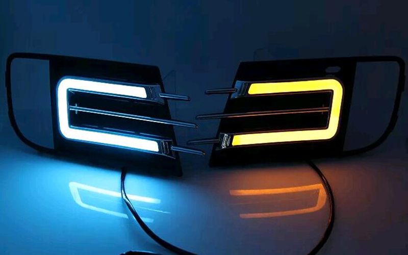 Turn signal and dimming style Relay Gloss 12V LED Car DRL daytime running lights for Volkswagen VW Tiguan 2013-2014 1set car accessories daytime running lights with yellow turn signals auto led drl for volkswagen vw scirocco 2010 2012 2013 2014