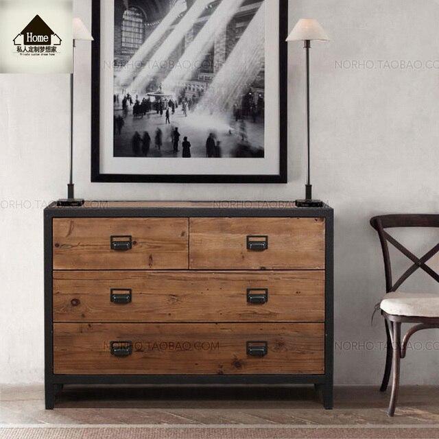 American Country Style Retro Iron Cupboard Drawers Creative Wood Drawer Storage Cabinet Locker