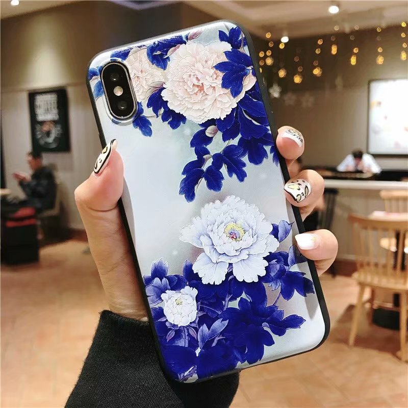 KIPX1051B_1_JONSNOW 3D Emboss Flowers Soft Case for iPhone XS XR Cases for iPhone 6S 7P 8 Plus XS Max Phone Cover