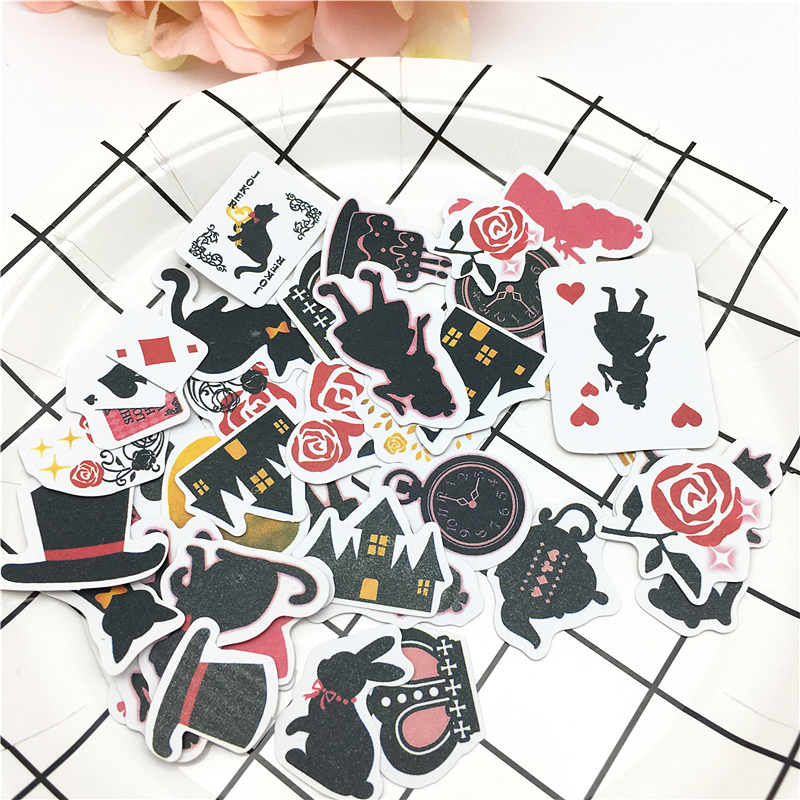 36 Pcs  Alice In Wonderland Theme Creative Paper Stickers DIY Hand Book Sticker