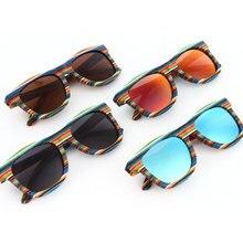 Мода красочные Радуга деревянный поляризационные Солнцезащитные очки для женщин Рамка UV400 Sunwear