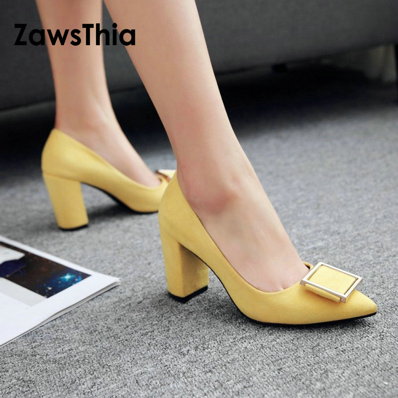 ZawsThia 2019 spring summer yellow red block high heels office career woman pumps shoes beautiful women dress stilettos shoes