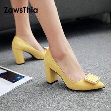 ZawsThia 2019 spring summer yellow red block high heels offi
