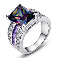 Wholesale Luxury Party Rings For Women Rainbow Topaz Amethyst White Topaz 18K White Gold Plated Ring
