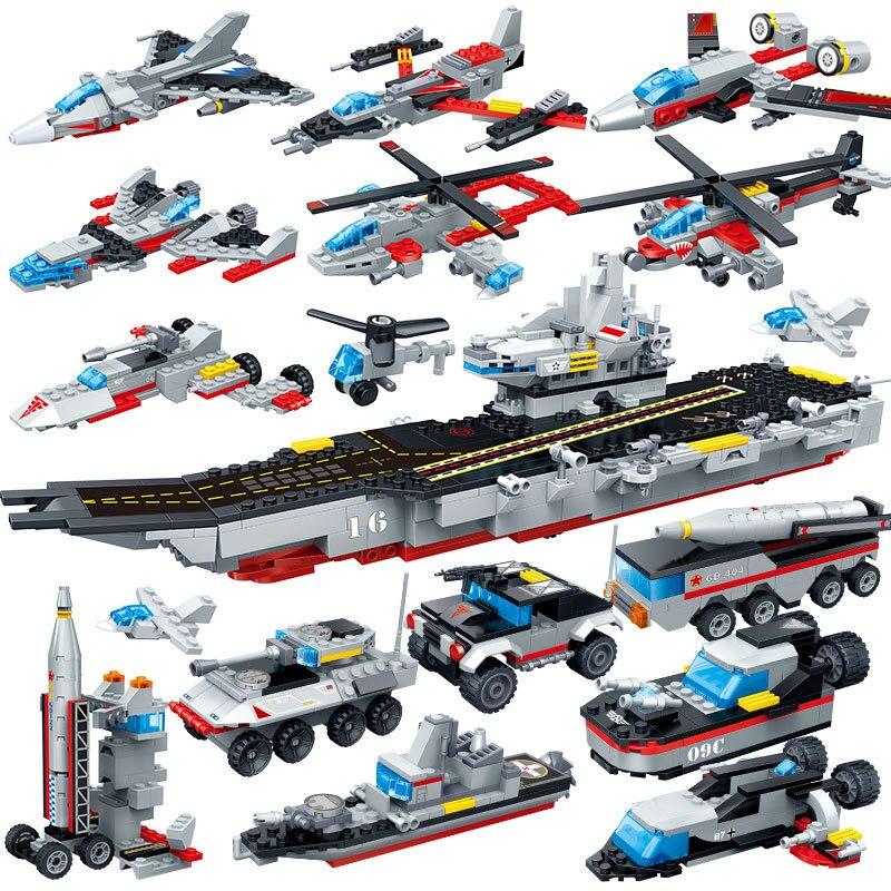 659PCS 8 In 1 Aircraft Carri Building Blocks Bricks Toys Legoings Models Military Ship DIY Model Building Blocks Kits Boys Toys assemble 1 72 u s mv 22b osprey tiltrotor aircraft model 02231 blocks kits