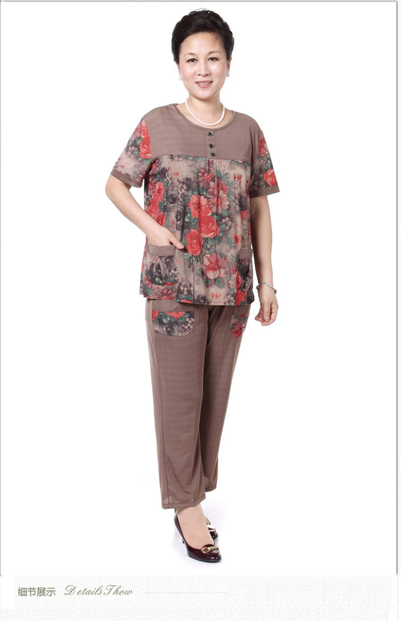 Mother Summer Twinset Red Green Short Sleeve Blouse And Cropped Pant Suit Two Pieces Trouser Suits Sets Woman Casual Ensemble Grandma (7)