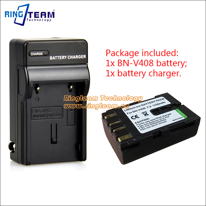 2-In-1 BN-V408 BN-V408U Digital Battery and <font><b>Charger</b></font> for <font><b>JVC</b></font> <font><b>Camcorder</b></font> D70EK D70U D70US D72 D72U D72US D73 D73US D90 D90K D90US