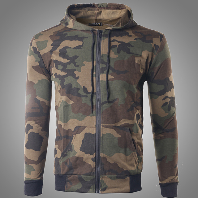 2016 Mens Camouflage Printed Sweatshirts Hoodies Military Style Fashion Autumn Zipper Coat Sudaderas Hombre Cardigan L-XL W142
