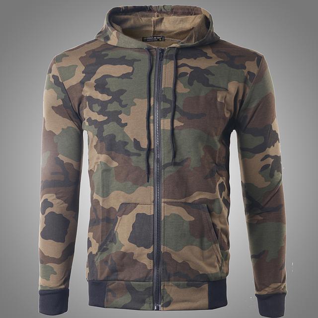 2016 Mens Camuflaje Impreso Sudaderas con capucha Militar Estilo Moda Otoño Capa de la Cremallera Sudaderas Hombre Cardigan L-XL W142