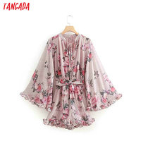 Tangada women flower pink playsuit sweet bow sashes short jumpsuit flare long sleeve sexy beach bow neck rompers female OZ176