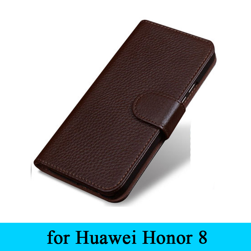 100 Genuine Leather Business Flip Fashion Case Magnet Cover for Huawei Honor 8 Honor8 Wallet Design