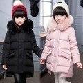 2016 Новые Девушки Зимой Вниз Пальто Детей Длинный Толстый Теплый вниз Пальто Подросток Зимняя Куртка Для Детей Холодная зима-30 степень