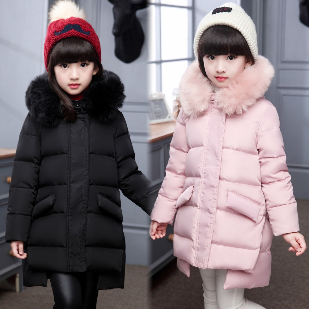 ФОТО 2016 New Girls Winter Down Coats Children Long Thick Warm Down Coat Teenage Winter Jacket For Children Cold winter -30 degree