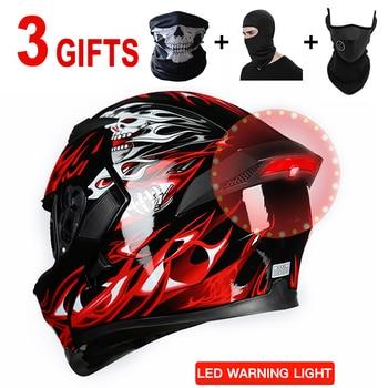 Casco de motocicleta DOT micrófono auricular Bluetooth pasamontañas LED casco de moto hombre Cruz casco motorrad timón casco modulare