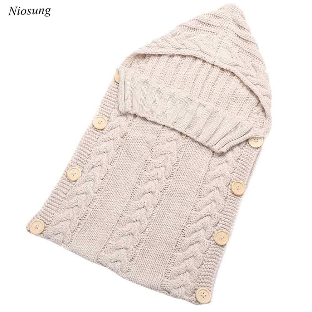 New Hot Newborn Baby Sleeping Bag Hood Button Knitting Sleeping Bag v