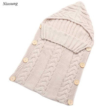 New Hot Newborn Baby Sleeping Bag Hood Button Knitting Sleeping Bag v