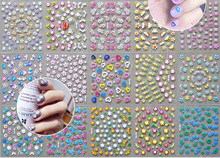 #NTL-C(03) hot-sell 30pcs in one Nail Stickers Flowers Special design cute Bows/Hearts Rainbow nail art stickers korea wholesale