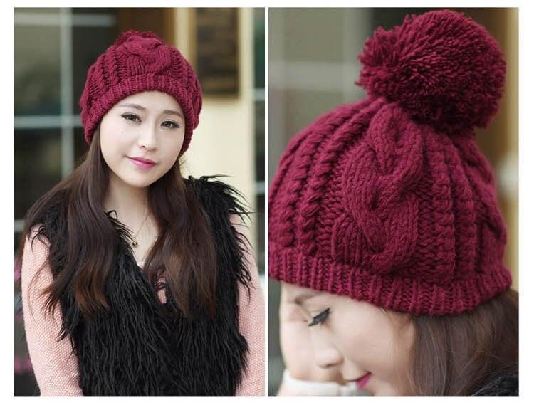 Вязанная шапка зимняя LYSHO, теплая, ручной работы, красивый узор, цвет сплошной, с помпоном, выбор цветов, материал-акриловый, выбор современных женщин, не дорого