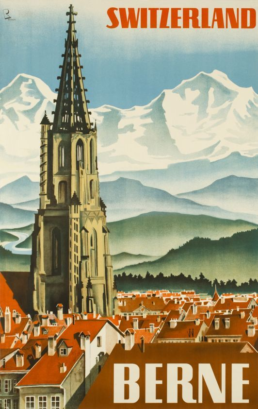 BERNE Switzerland Seaview Mountain View Switzerland Travel Series Vintage  Poster Canvas Painting Wall Art Home Posters Decor 6c203c1ce4f