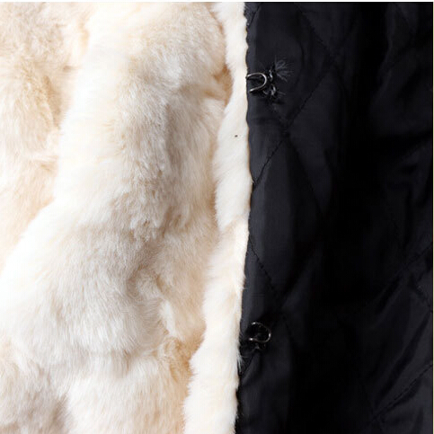 Fourrure Épais De L'europe Mode Manteaux Perles Longues Beige Femmes Chaud Manteau Laine Manches Et Marque À S2691 Vestes 2018 Nouvelle Patchwork Hiver 4pxqzp