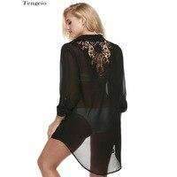 Hollow Crochet Lace Patchwork Long Blouse Women See Through Beach Wear Bikini Cover Ups Chiffon Long