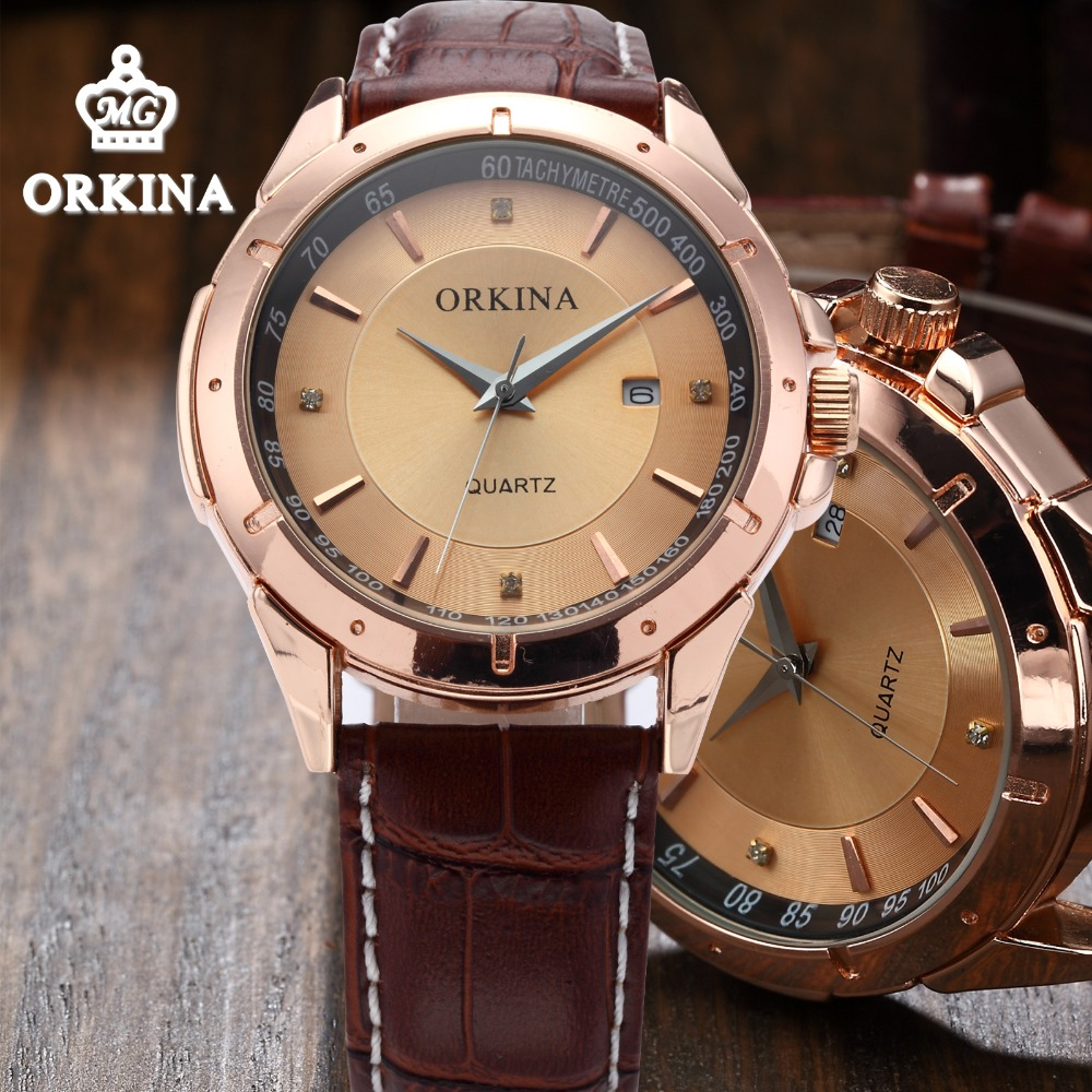 Orkina Men's Luxury Rose Gold Quartz Business Watches 2016 Men Fashion Dress Brown Leather Watch Men Relogio Vintage Masculino orkina 2016 mens watches top brand luxury rose gold wrist watch men dress quartz auto date man business clock relogio masculino