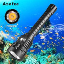 Super Brightness XHP70.2 LED Yellow Light 4000 Lumens Diving Flashlight Tactical 26650 Torch Underwater 100M Waterproof Lamp цена