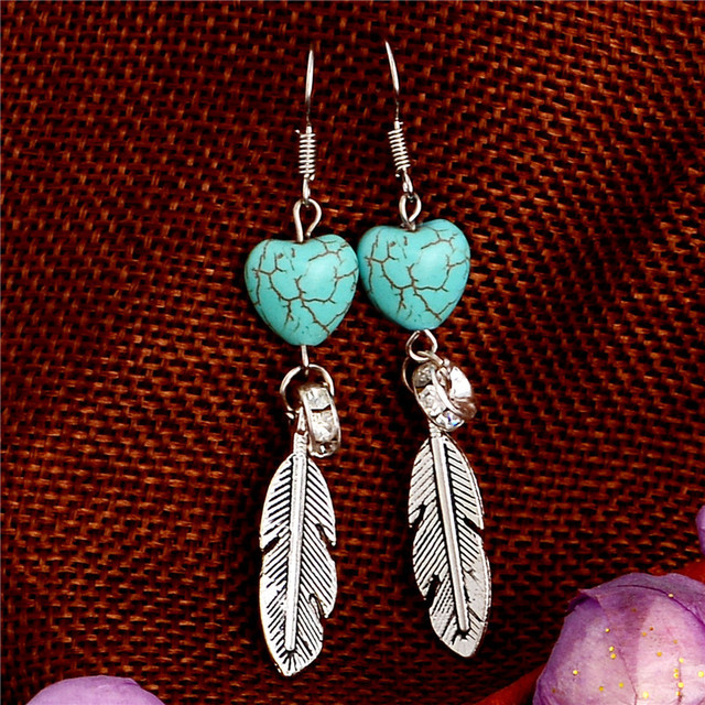 H:HYDE Outstanding design jewelry shiny feather shape Natural Stone Lady/Women d